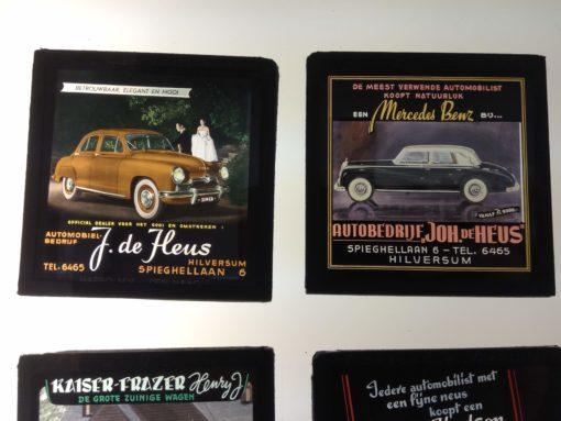 5x advertising glass slides 'Automobielbedrijf J. de Heus' Hilversum