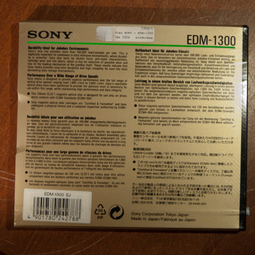 "Sony 5,25"" MO Disk 1.3GB, Data Cartridge(new)"